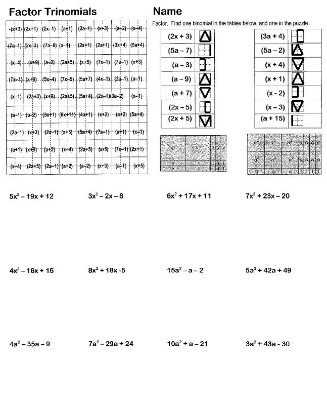 Printables Factoring Trinomials Worksheet search and shade worksheets hoppe ninja math teacher blog cialis professional